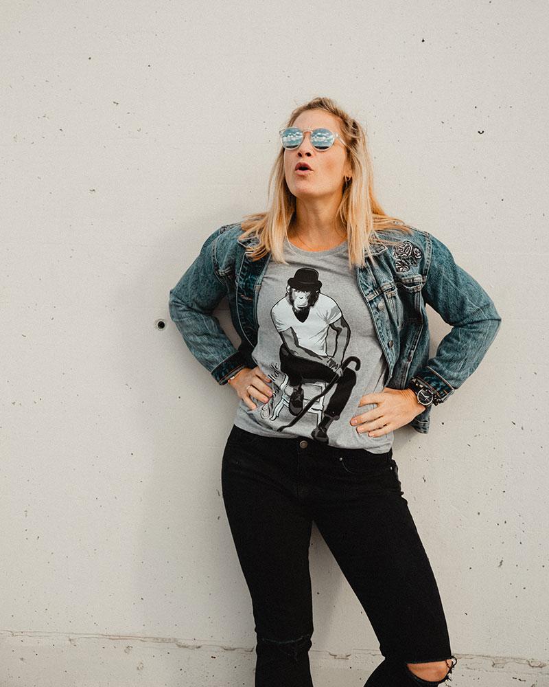 Grossstadtaffe_Shirt_Woman_Grau